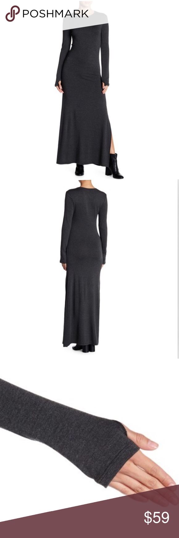 Go couture maxi dress stretch long sleeve crew nwt maxi dresses