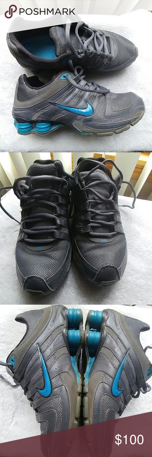 Nike Shoes - shox grey and blue - size 9 Nike Shoes - shox grey and blue - size 9. Good condition, worn twice. Minor wear on Nike logo but not noticeable during wear. Great shoe, just stayed in my closet and never wore them! nike Shoes Athletic Shoes