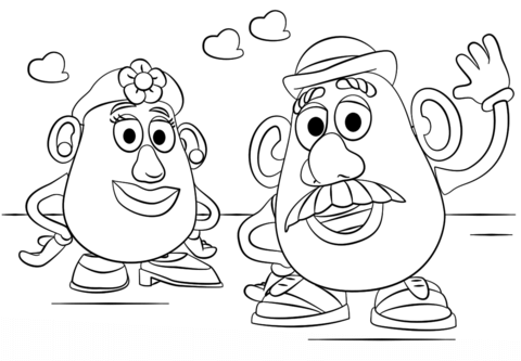 Mr And Mrs Potato Head Coloring Page Toy Story Coloring Pages Cartoon Coloring Pages Disney Coloring Sheets