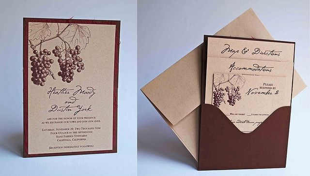 Wine Wedding Theme Pocket Invitation Maybe One Day Pinterest