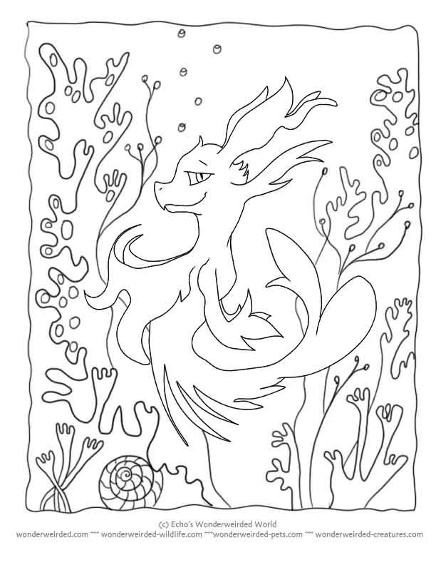 printable cartoon coloring page seahorse seadragon at wwwwonderweirded creaturescomprintable