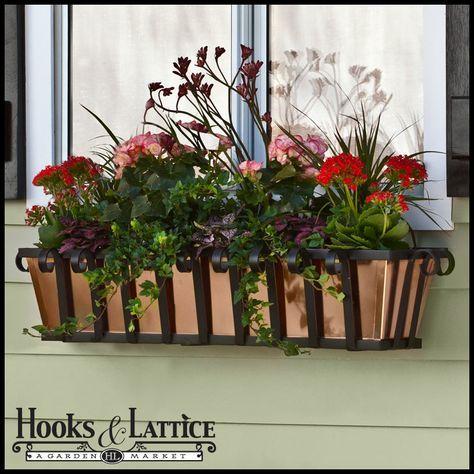 Wrought Iron Window Boxes, Copper Railing Planters   Hooks ...