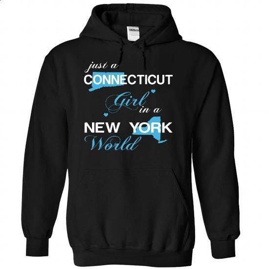 (CTJustXanh001) Just A Connecticut Girl In A New_York W - silk screen #chambray shirt #victoria secret hoodie
