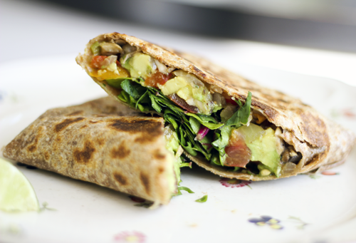 Grilled Whole Wheat Burrito with Swiss Chard & Avocado