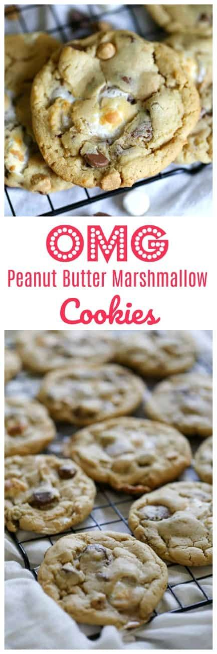 OMG Peanut Butter Marshmallow Cookies #chocolatemarshmallowcookies
