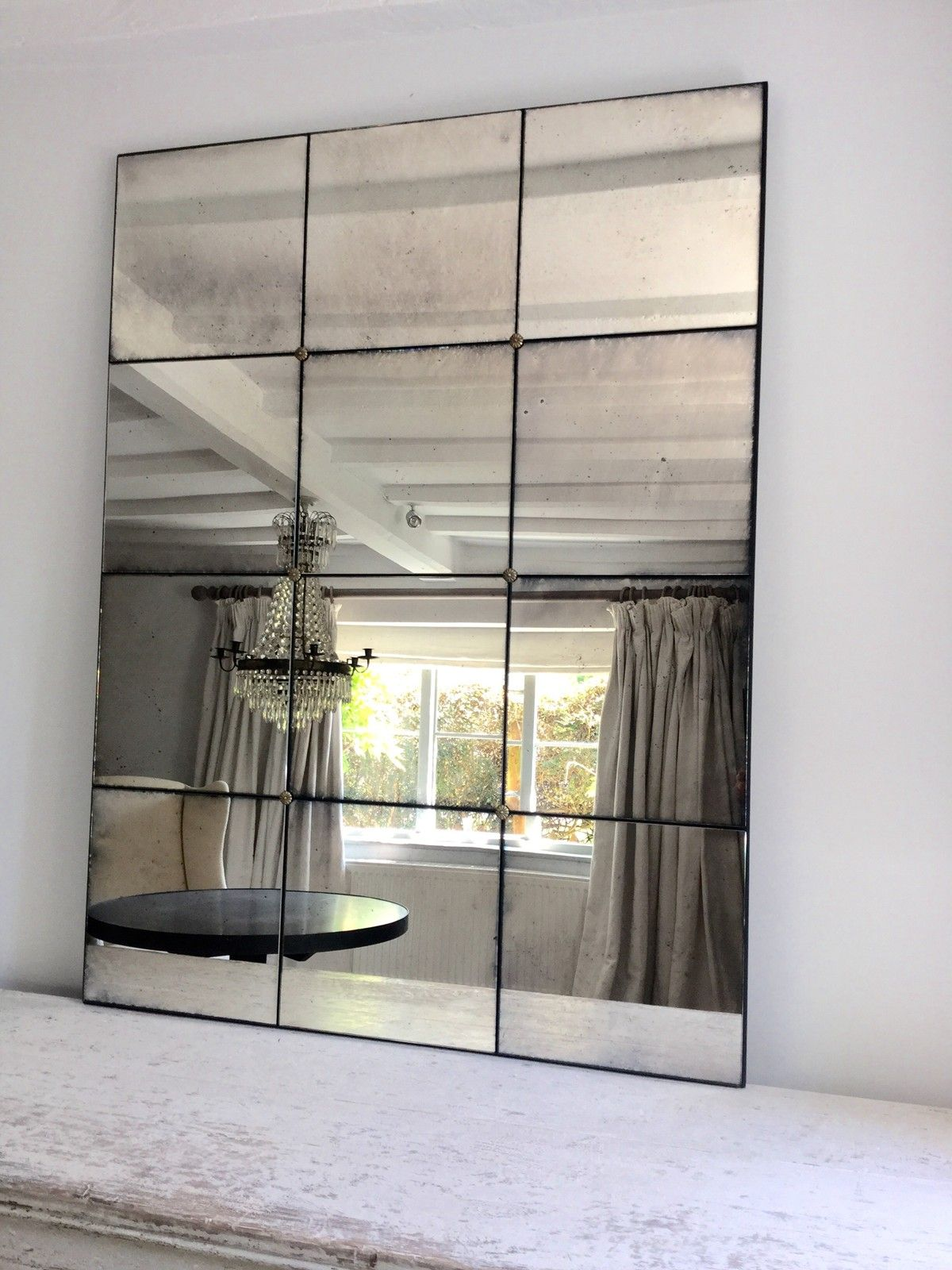Stunning Hand Silvered Antiqued Panelled Foxed Mirrors