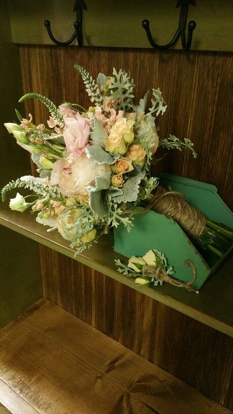 Vintage style bouquet with twine wrapped stems. Designed by Twig Floral Designs Carbondale IL www.twig-designs.com