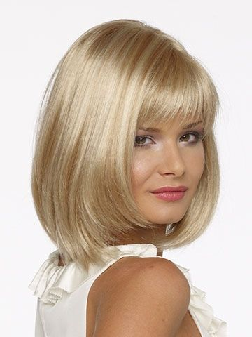 Medium Length Hairstyle Pale Blonde Hair Wigs With Smooth Straight