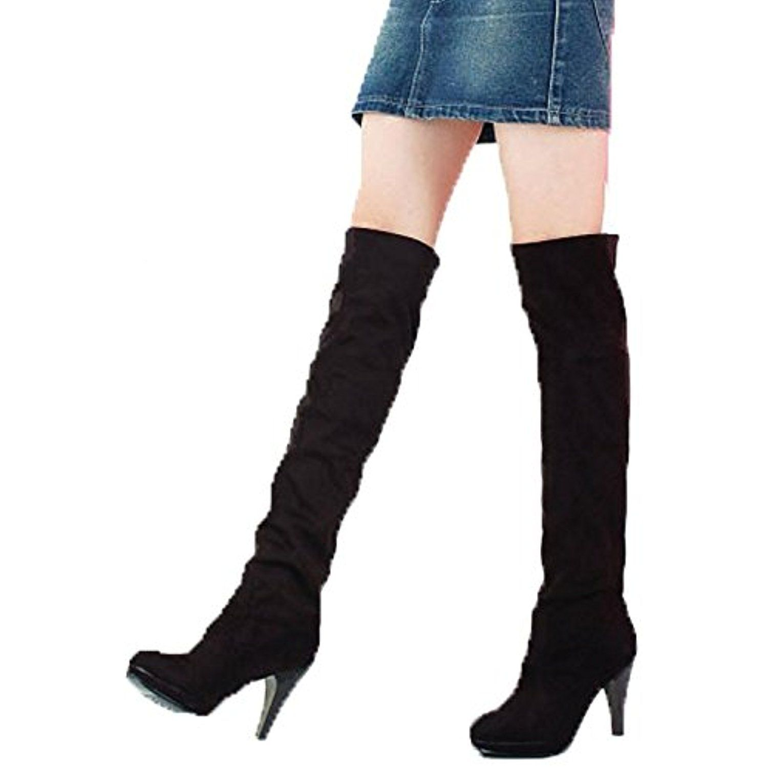 Women's Over Knee Thigh High Stretchy Wedge High Heel Pull On Shoes Knight Boots