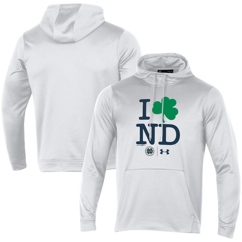 Notre Dame Fighting Irish Under Armour 2018 Shamrock Series I Love ND Fleece  Pullover Hoodie – White 0d2c31eb0