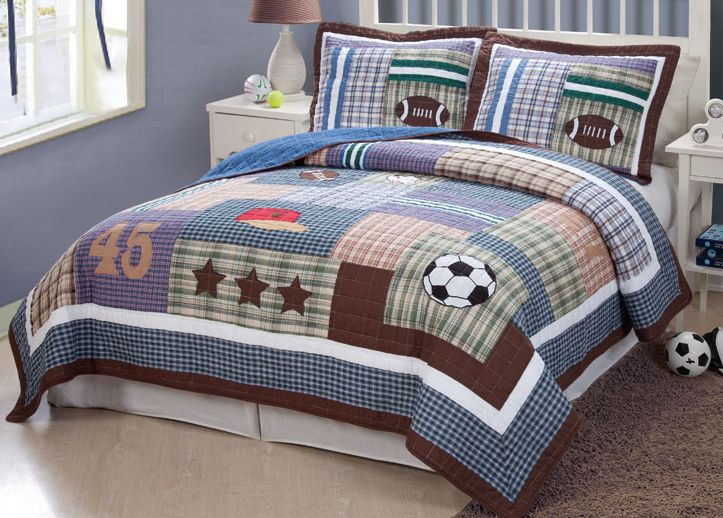 Field Sports Twin Quilt With Pillow Sham Price Baby - Boys sports bedding sets twin
