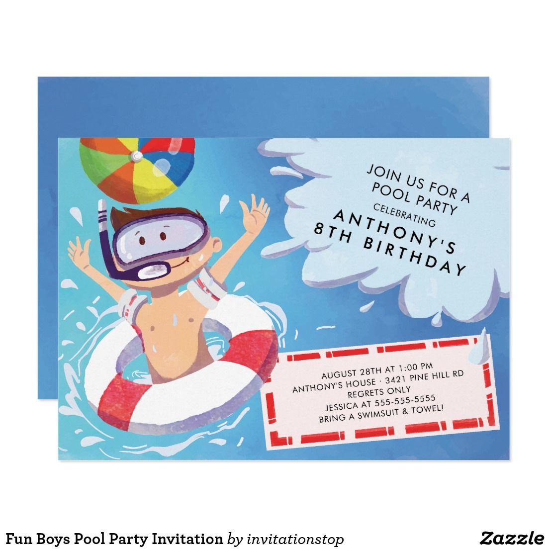 fun boys pool party invitation birthday party invitations kids
