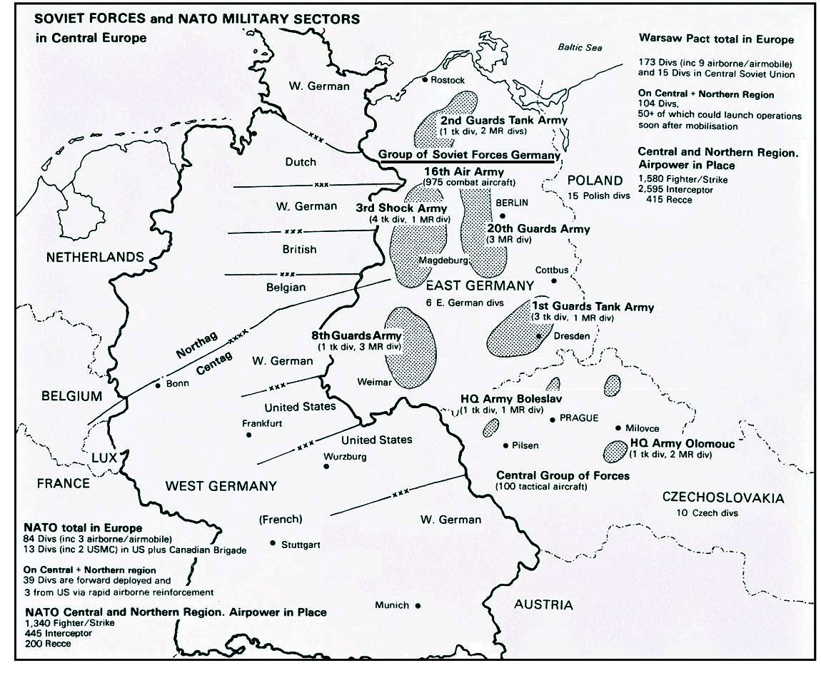 Soviet Forces And Nato Military Sectors In Central Europe