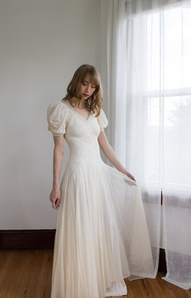 20's puffed sleeve tulle net and lace wedding dress / satin slip ...
