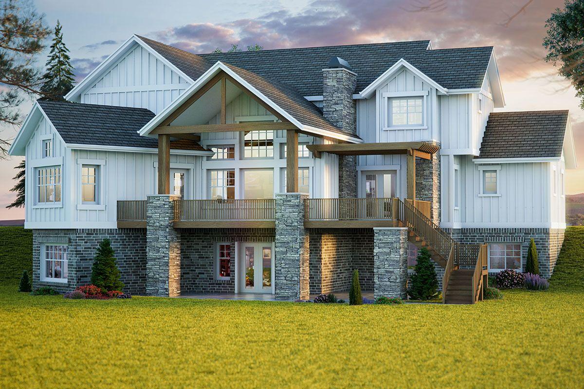 Plan 95061RW Beautiful New American Farmhouse with Main