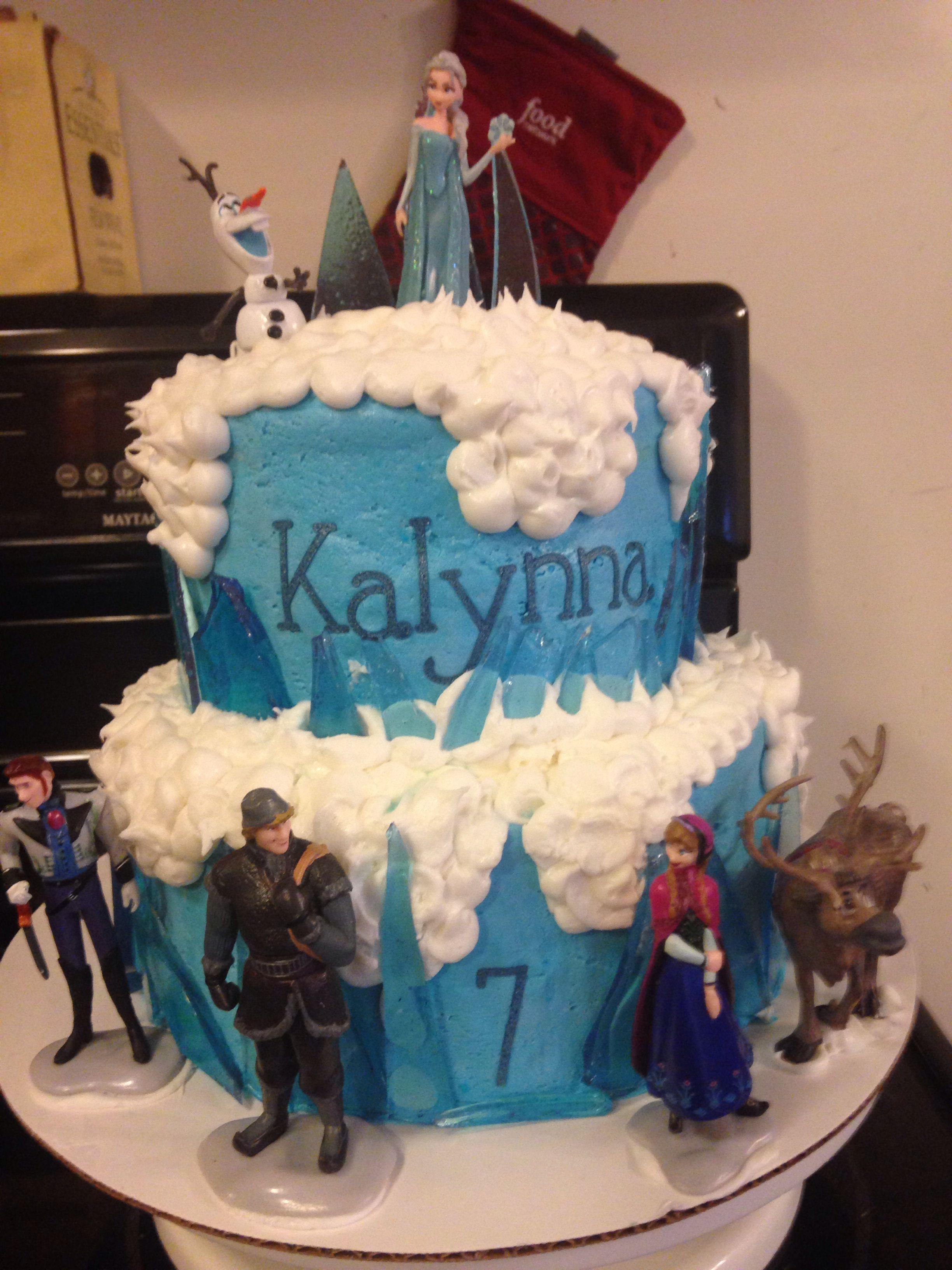 Disney Frozen Cake In All Buttercream No Fondant With Blue Sugar