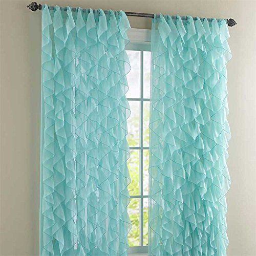Cascade Sea Shabby Chic Sheer Ruffled Curtain Panel L. Cascade Sea 84   Mermaid Everything    Pinterest   Mermaid bedroom