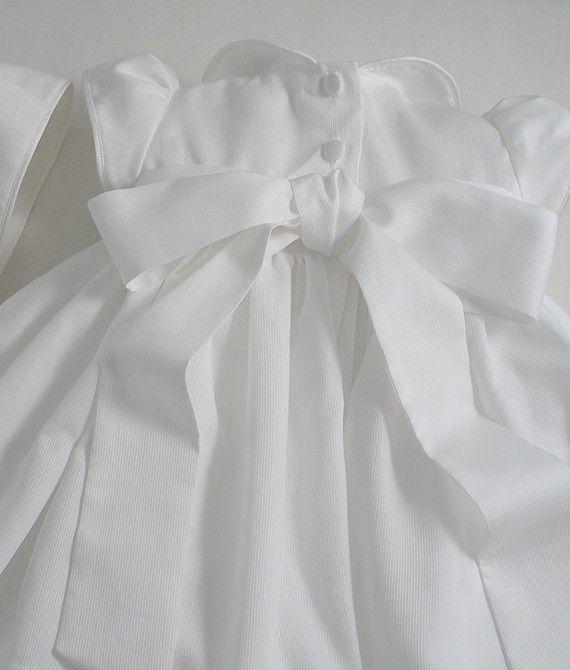 White Pique Dress and Bonnet - Patricia Smith Designs
