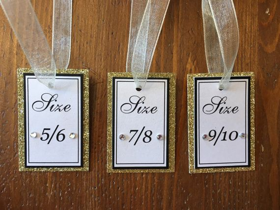Sparkly Flip Flop Size Tags for Weddings by VictoriaLynnMianulli
