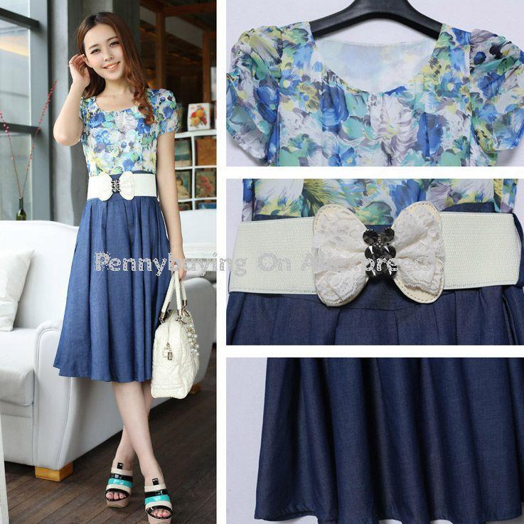 c5281a71888 Free Shipping CD113  2013 Summer Fashion Woman denim Preppy Dress OL Office  Lady Casual Clothes