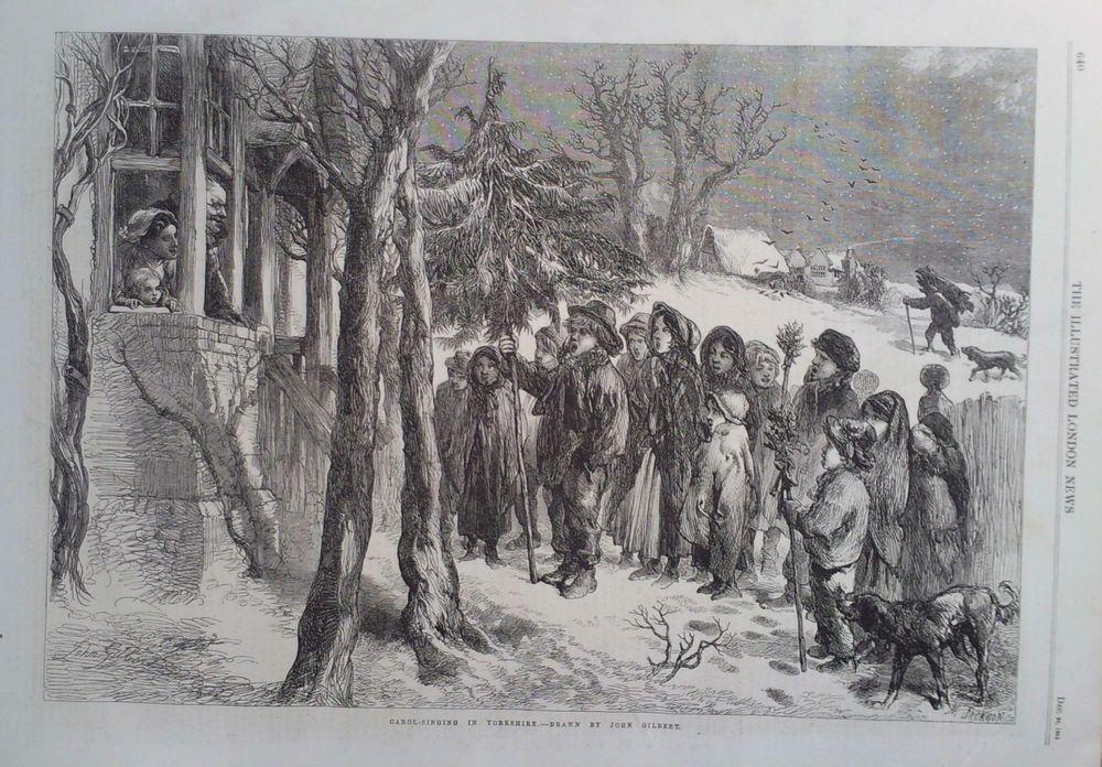 1864 PRINT CAROL SINGING IN YORKSHIRE by JOHN GILBERT