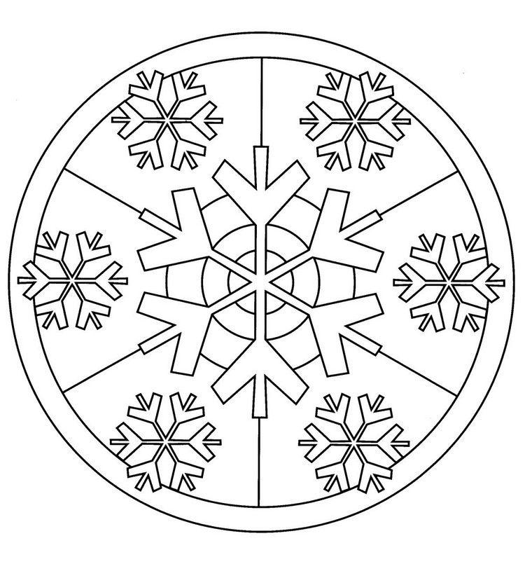 Mandala Winter Schneeflocken Ausmalbild Kostenlos Christmas