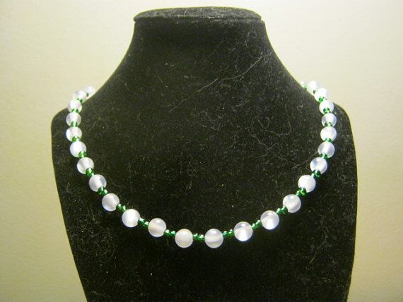 Pearlstyle necklace with green beads 18 inches by carebear1984, $10.00