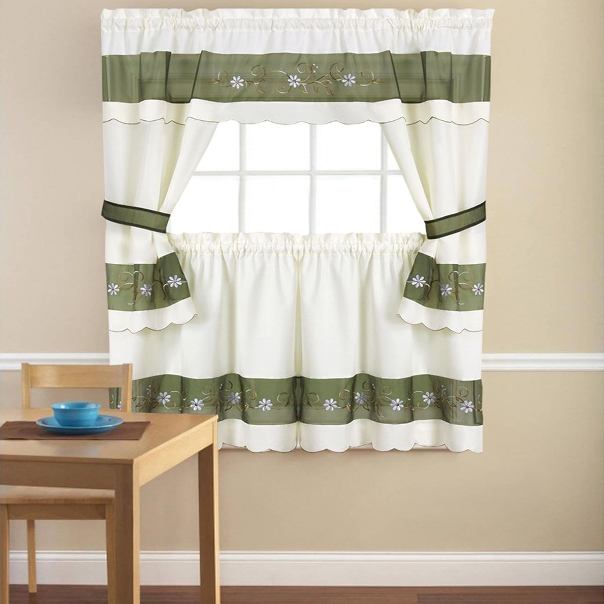 Embroidered Floral 5 Piece Kitchen Curtain Set 58 X24