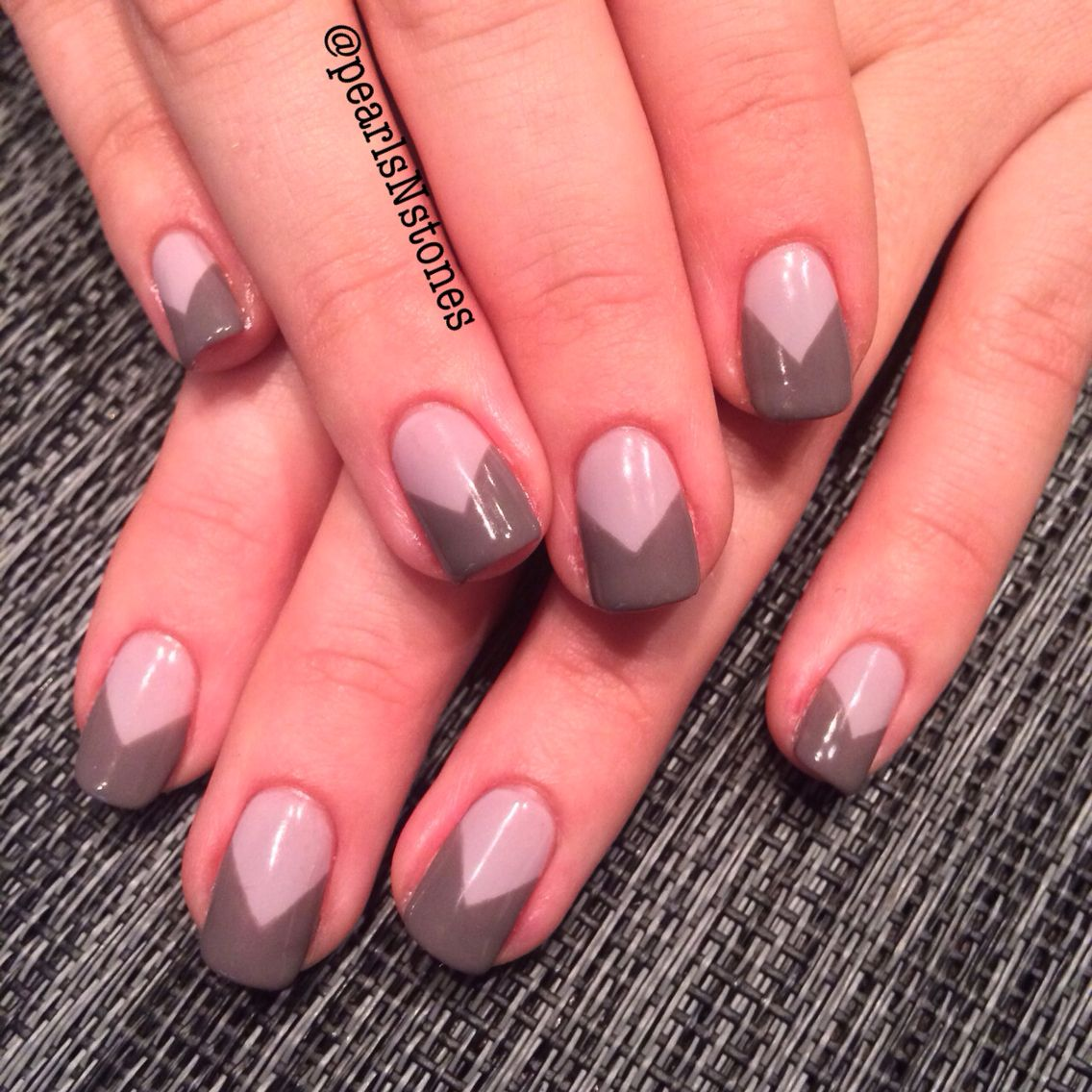 Light grey with dark grey v shaped French nail art idea   Nails ...