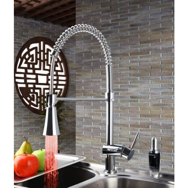 LED Kitchen Faucet with Mixer Tap & Pullout Tube Light Changing LED