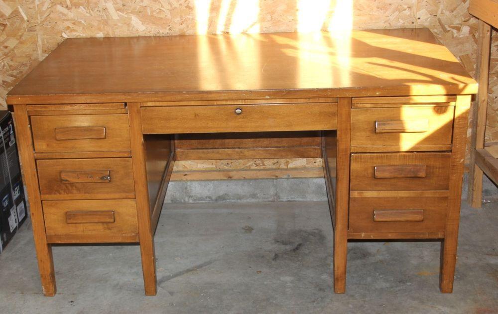 Vintage Oak Teachers Desk Desk Teacher Desk Solid Oak Office Desk