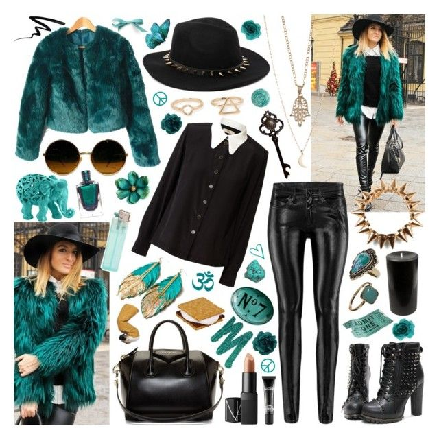 """""""Well you're dirty and sweet, clad in black"""" by aquabatgirl ❤ liked on Polyvore featuring Orla Kiely, H&M, Givenchy, Bowie, MANGO, Topshop, Accessorize, NARS Cosmetics, Urban Decay and Deborah Lippmann"""