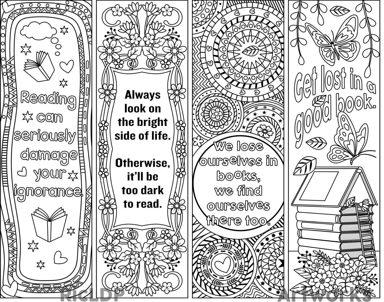 Set of 4 coloring bookmarks with quotes plus the colored for Bookmark printing template