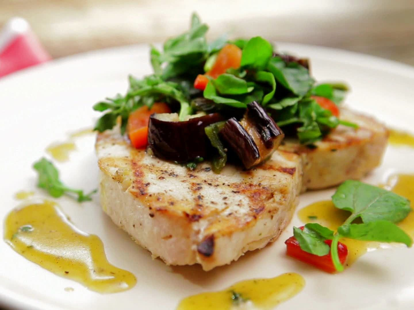 Grilled Swordfish and Eggplant Salad with Honey-Thyme ...