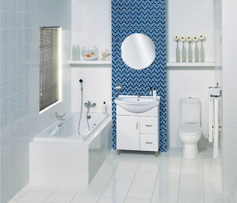Bathroom With Accent Tile Wall