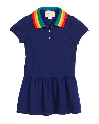 d3c5c4210 Gucci Polo Rainbow-Collar Dress w/ Butterfly Embroidery, Size 4-12 ...