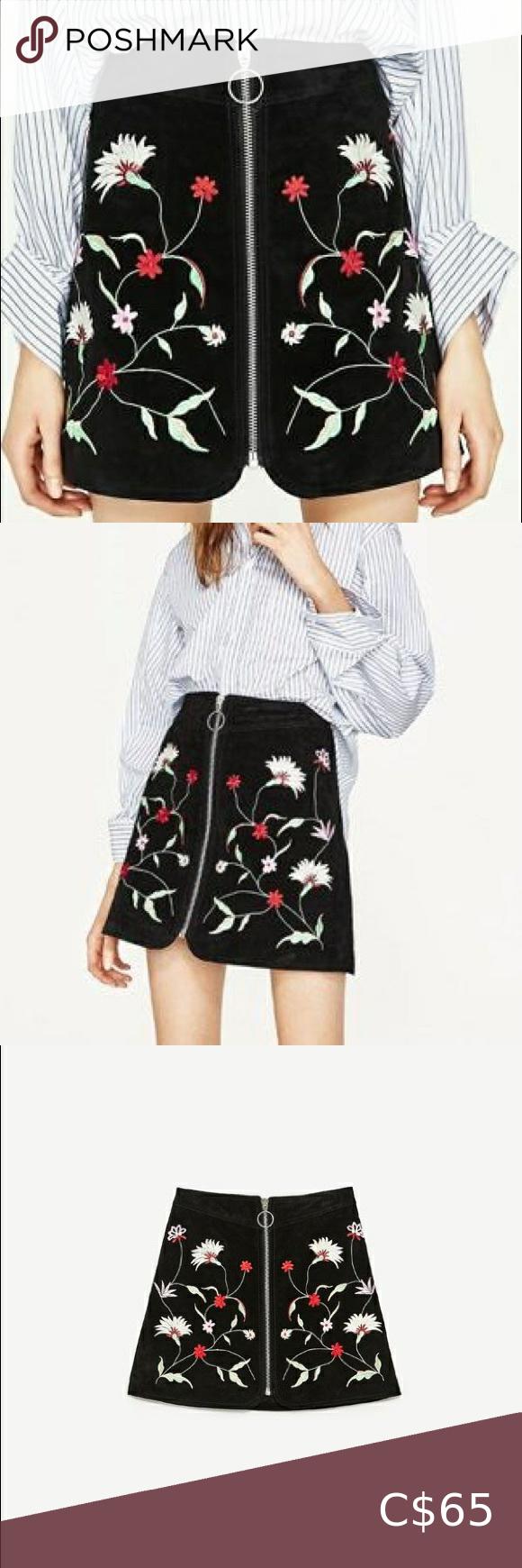 ZARA floral embroidered mini skirt