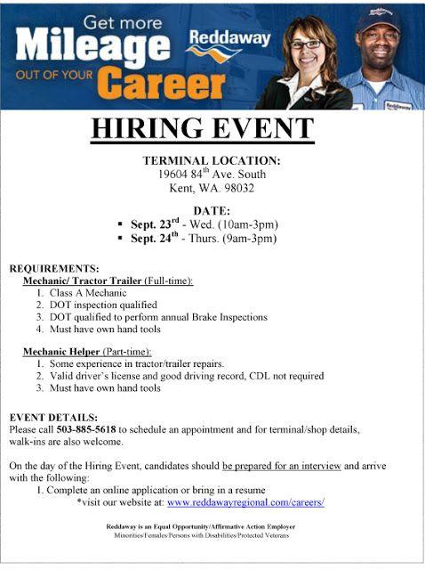 Reddaway Hiring Event September 23 24 In Kent Wa With Images Military Jobs Driver Job Veteran Jobs