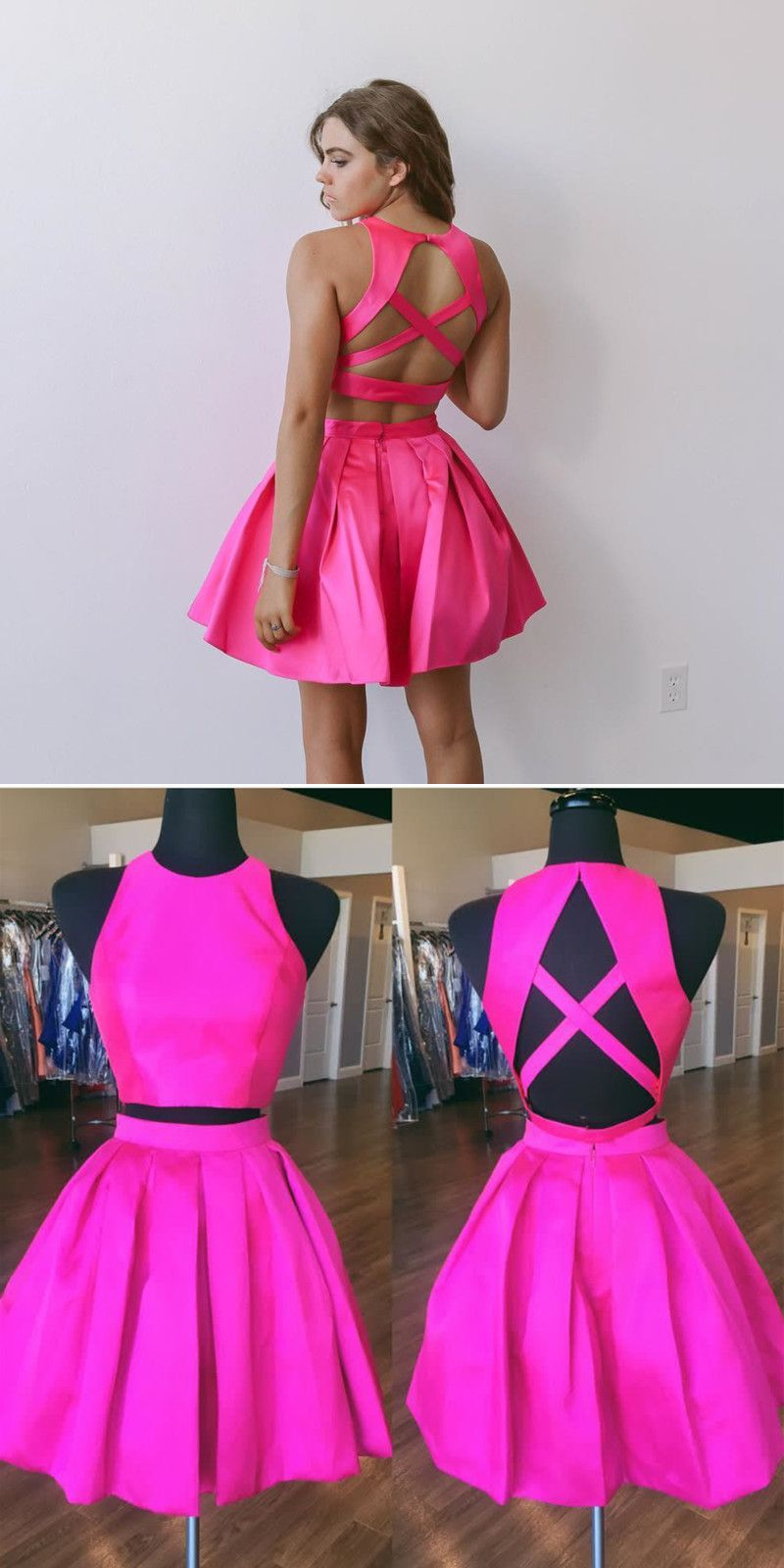 5ad8ef77967ff two piece short pink homecoming dress with criss back details, 2018  princess short homecoming dresses party dresses