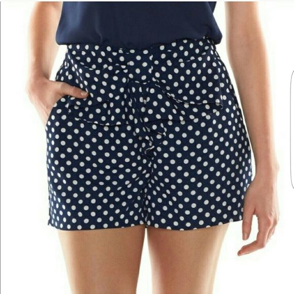 Lauren Conrad Disney Minnie Mouse Shorts Blue and white polka dots with a sewn on bow. Has a zipper on the side. I bought these from another posher, but they're too big for me. They still have the original tags!!! LC Lauren Conrad Shorts