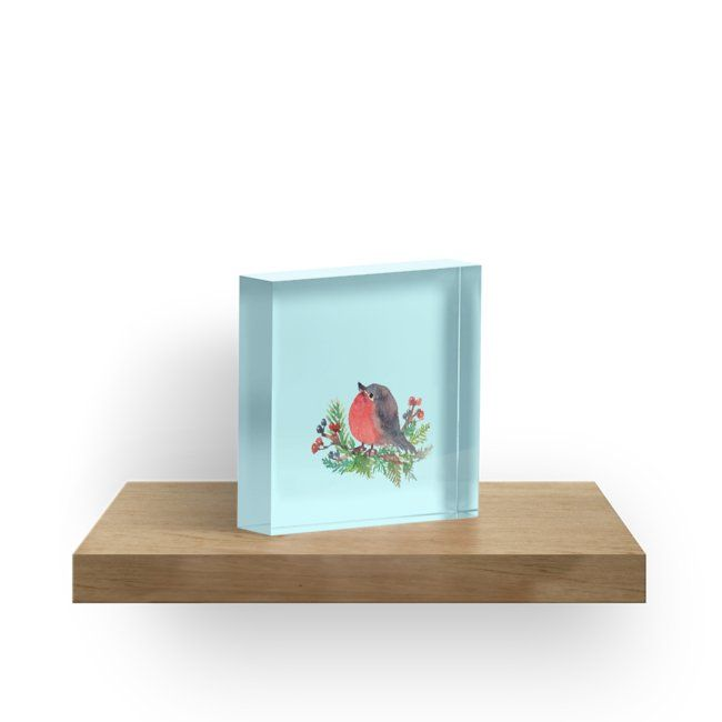 'Robin on a winterberry tree' Acrylic Block by whya | Best ...