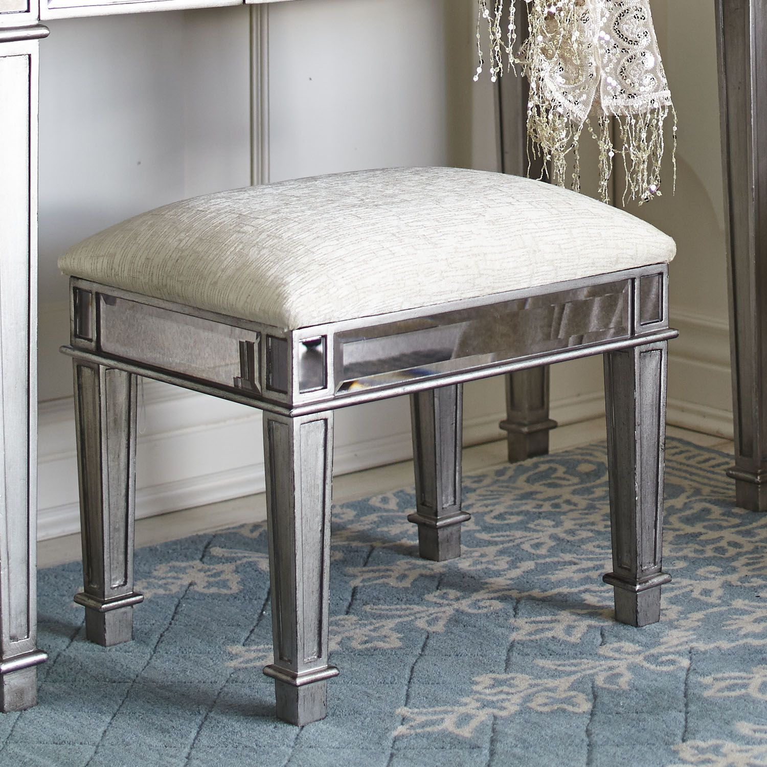 Hayworth Vanity Bench - Silver | Pier 1 Imports