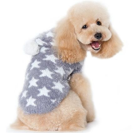 Fuzzy Stars Gray Dog Sweater For The Boys Pinterest Dog