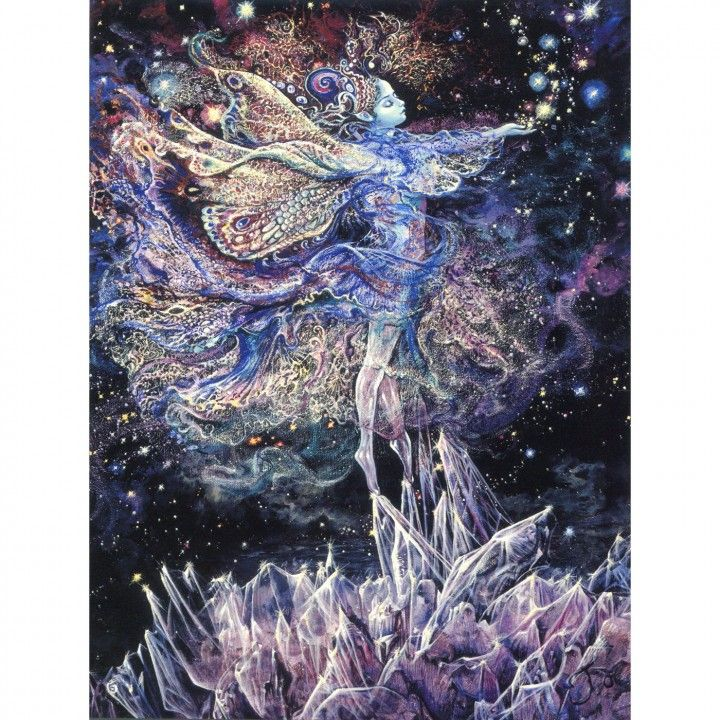 Crystal Fairy Greeting Card (Loving Thoughts) by Josephine Wall  http://www.holisticshop.co.uk/products/crystal-fairy-card  'In her sparkling world of light, this beautiful sprite dances with joy, hovering safely above the sharp edges of the crystal shards. Her gossamer wings beat rhythmically, in perfect harmony with the elements as they transport her weightless body through the pure, clear air. Scattering handfuls of fairy magic, she creates a myriad of stars to illuminate our own sky.'