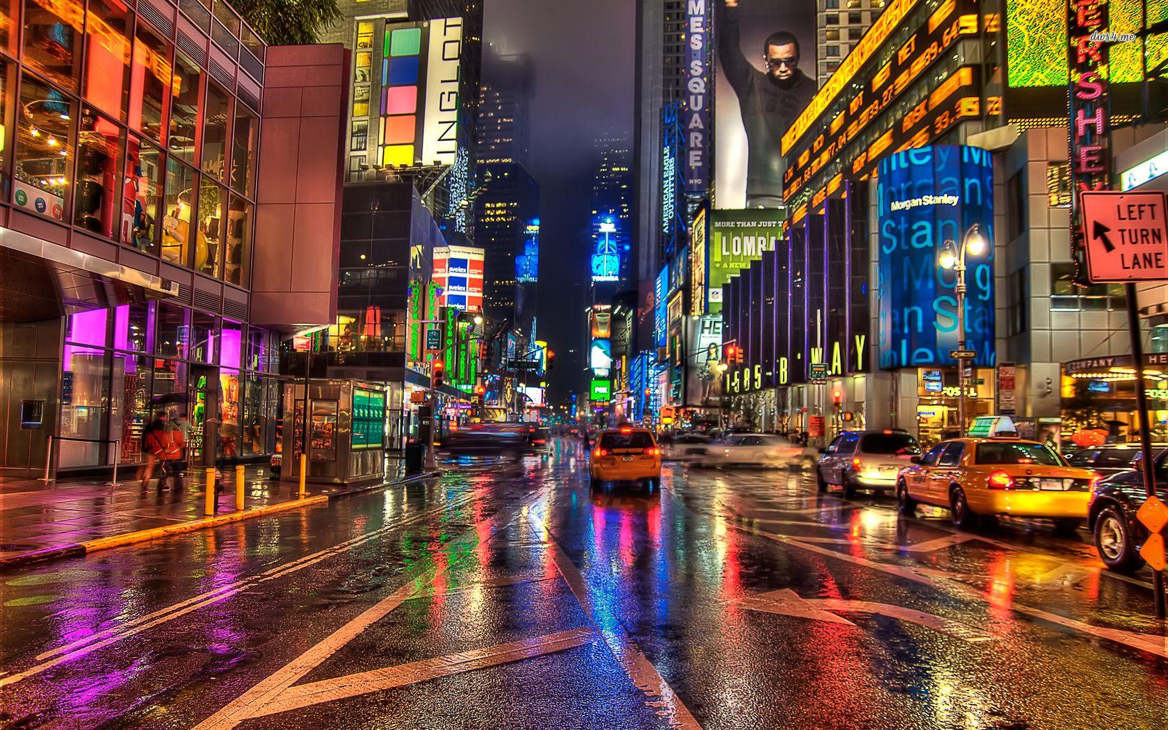 Обои rain dance, Times square, ночь, Nyc, new york. Города foto 11