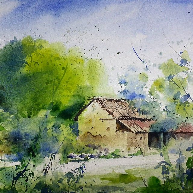 Watercolor Landscape Painting India Art Chandigarh Sikander Old Watercolors W Watercolor Landscape Landscape Paintings Watercolor Landscape Paintings