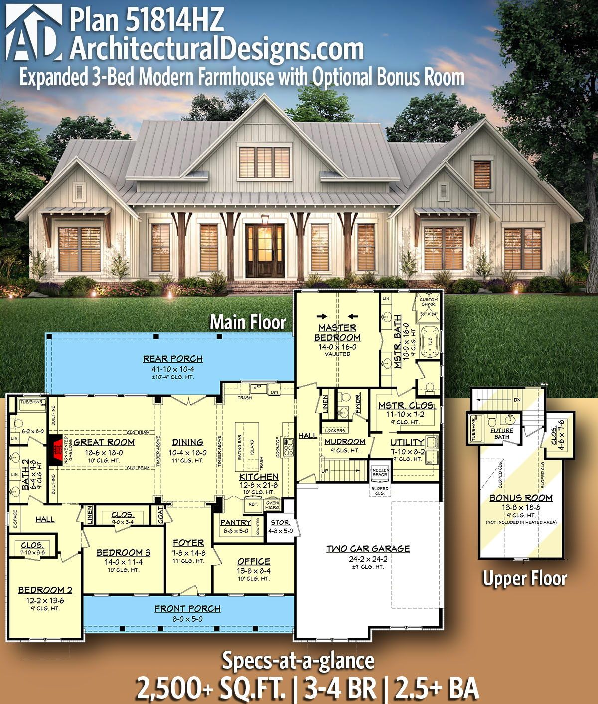 Plan 51814hz Expanded 3 Bed Modern Farmhouse With Optional Bonus Room In 2020 Modern Farmhouse Plans House Plans Farmhouse New House Plans