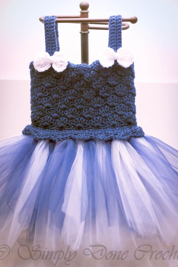 Crochet Scalloped Tutu in Blue and White with Adjustable Button ...