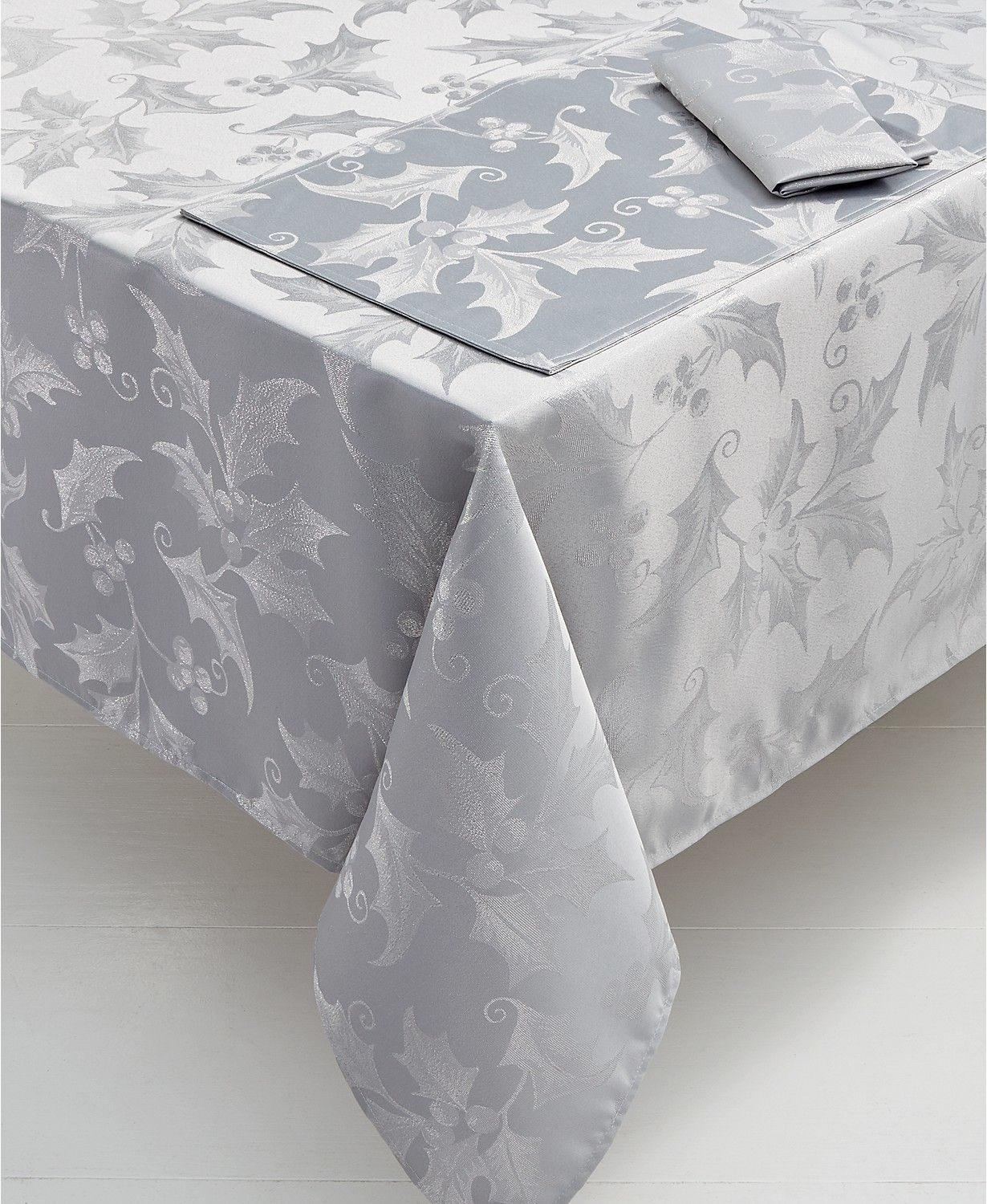 Elrene Metallic Holly Table Linens Collection Table Linens