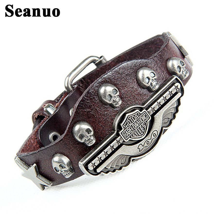 Seanuo Skeleton Skull Men's Leather Harley Davidson Biker Bracelet